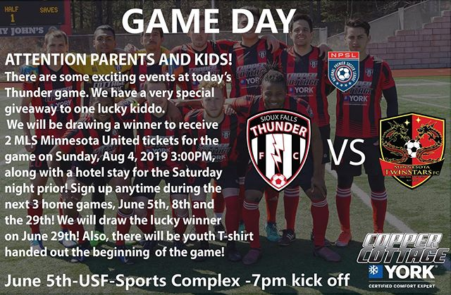 Exciting giveaways to one lucky kiddo! We are taking on @twinstarsacademy at 7pm today USFSports Complex⚽️ @npslsoccer @npsl_north