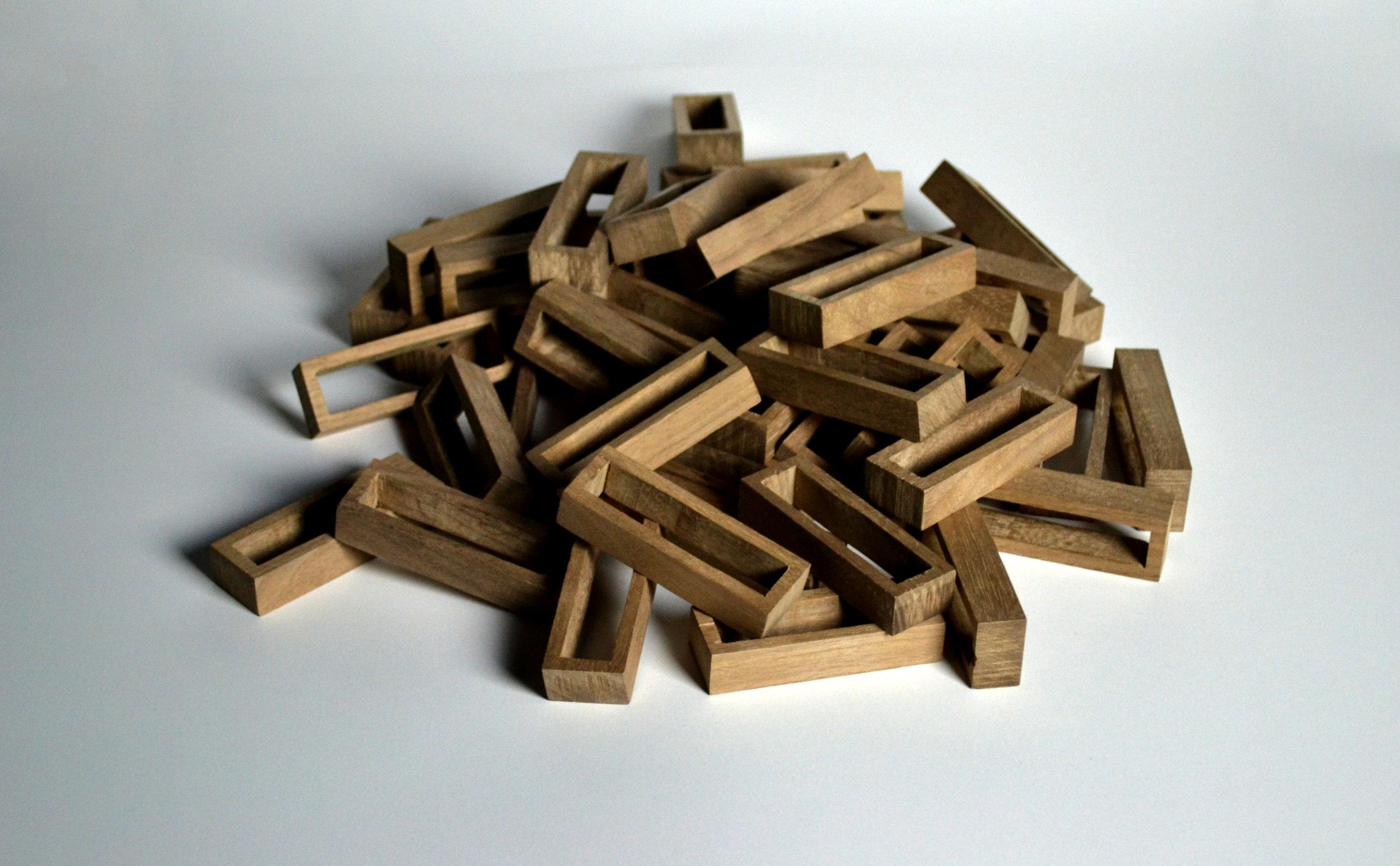 Finished hand-cut walnut blocks