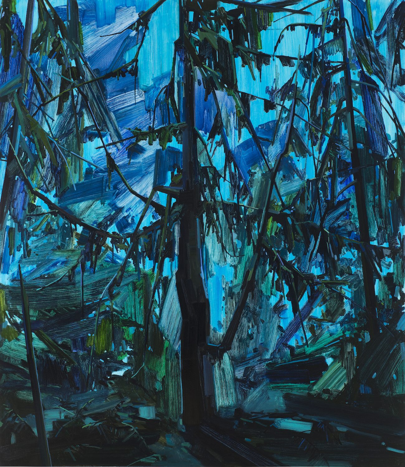 """Tree and Night , 2015, Oil on canvas, 84 x 72"""""""