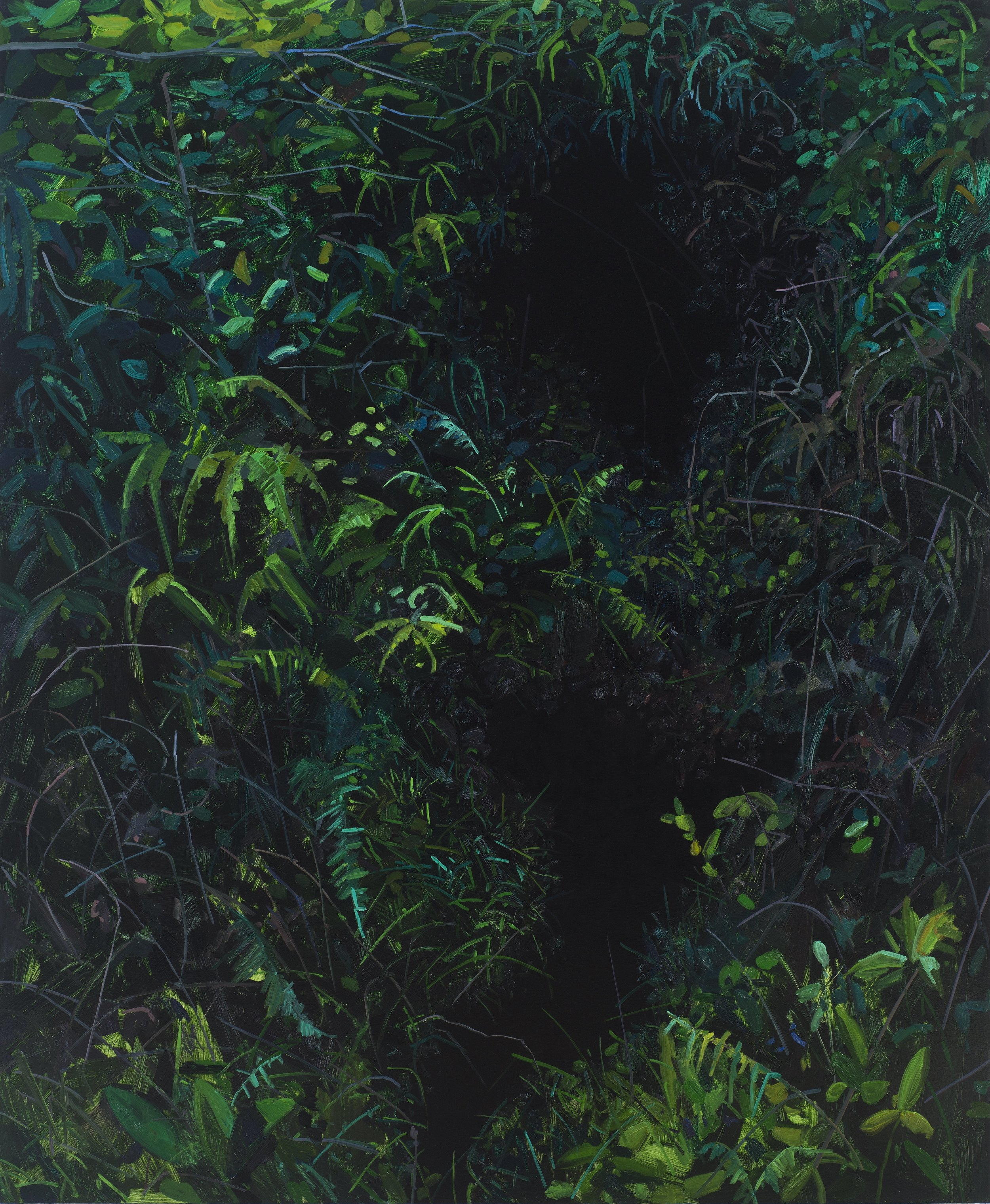 "Holes , 2017, Oil on canvas, 72 x 60"""