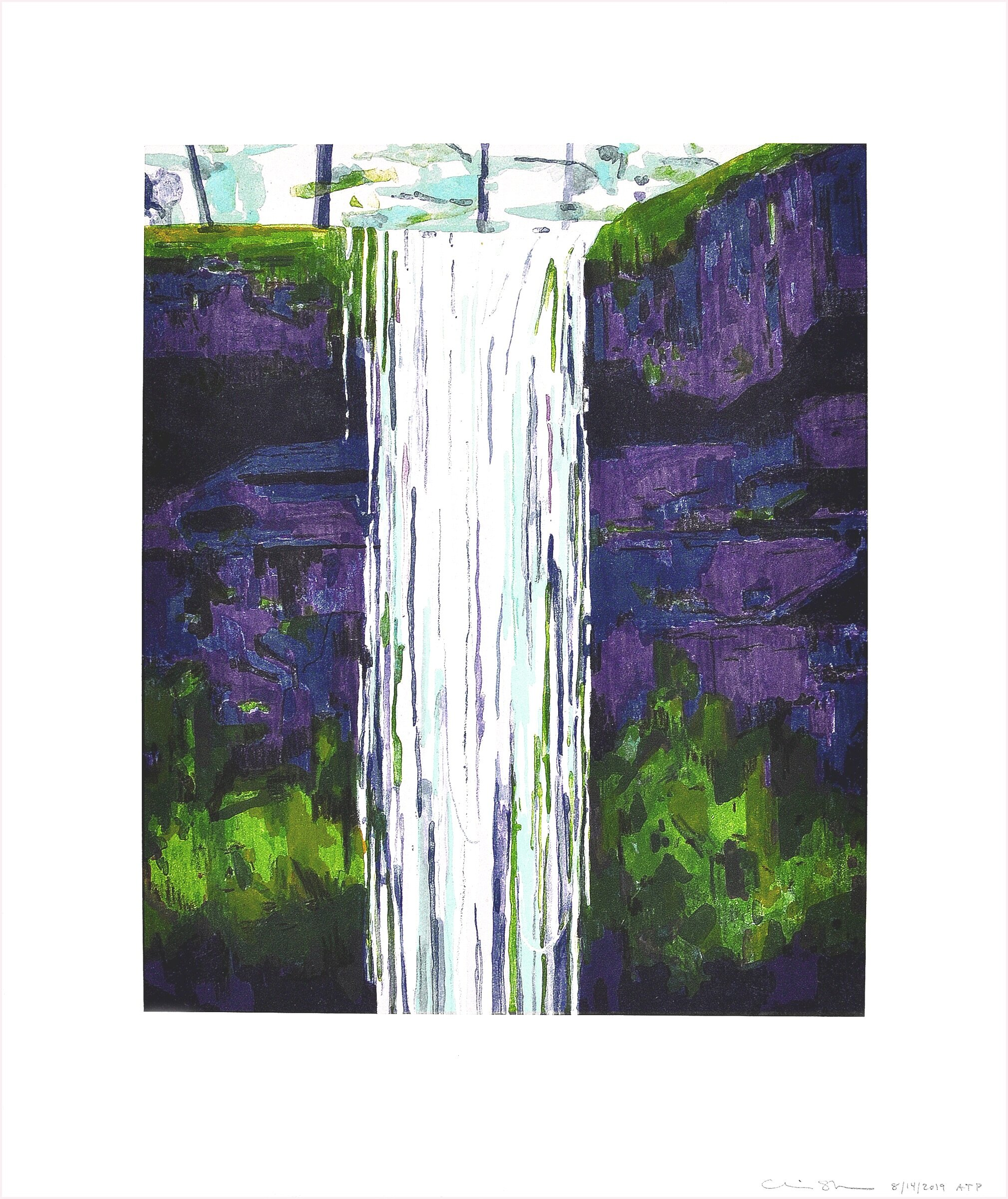 """Waterfall, 2019, Color Lithograph with chine collé, Ed. 30, 16 1/2"""" x 14"""""""