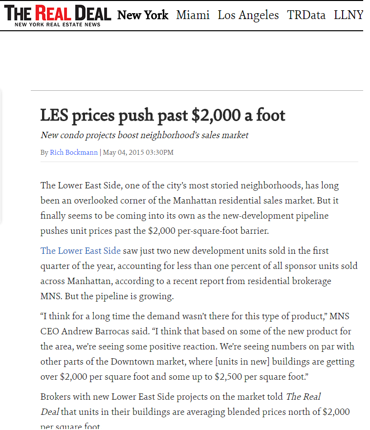 LES PRICES PUSH PAST $2,000 A FOOT