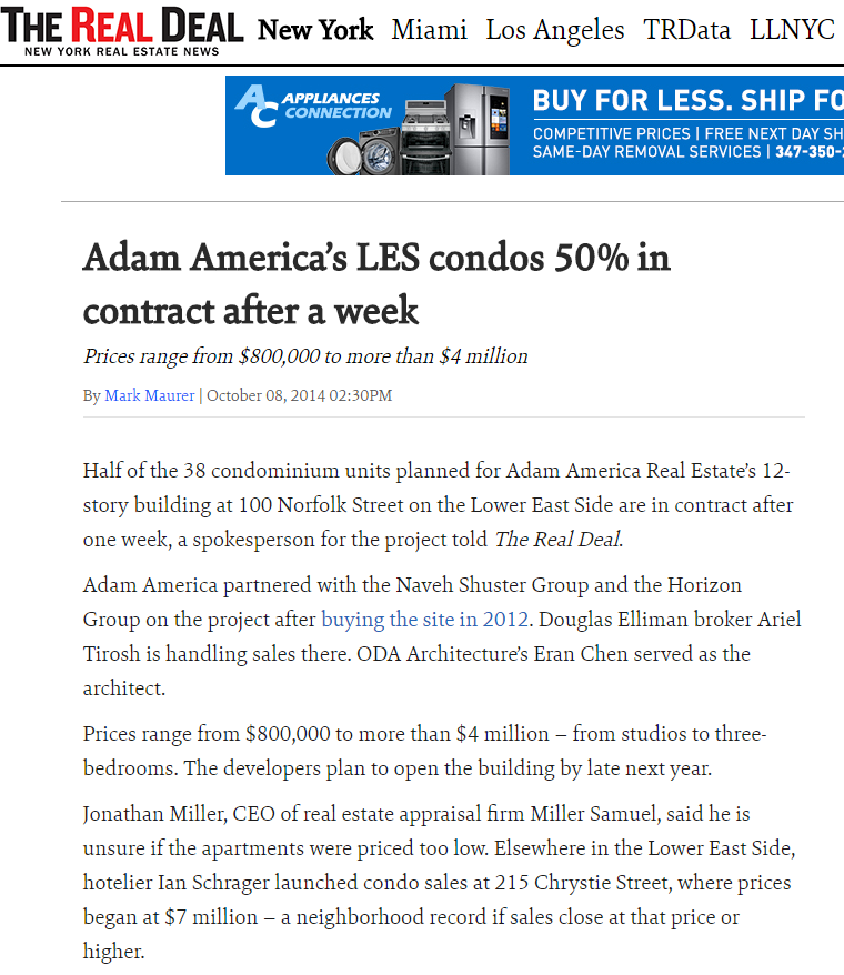 ADAM AMERICA'S LES CONDOS 50% IN CONTRACT AFTER A WEEK