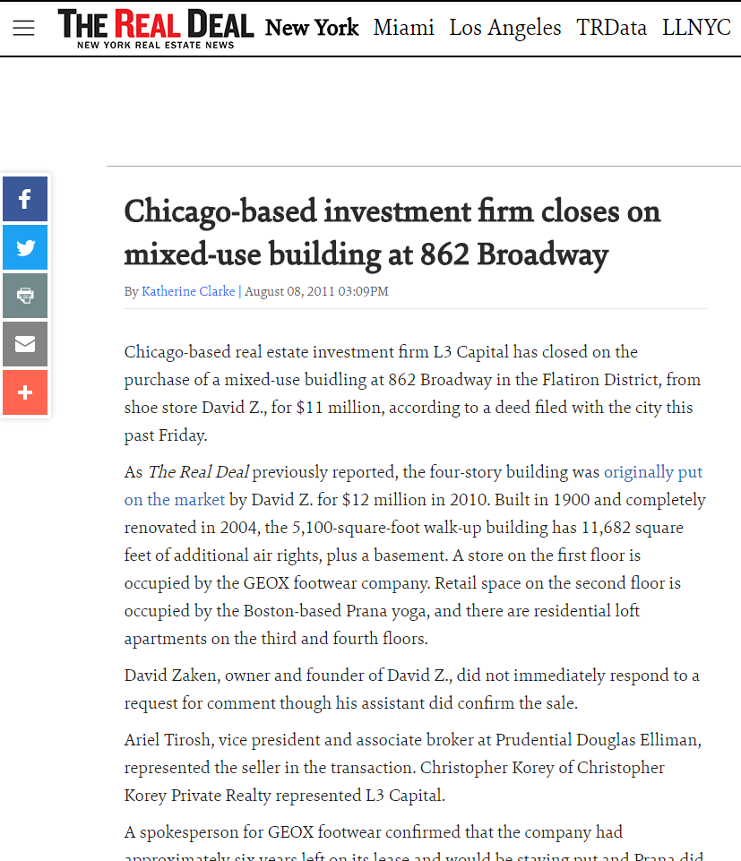 CHICAGO-BASED INVESTMENT FIRM CLOSES ON MIXED-USE BUILDING AT 862 BROADWAY
