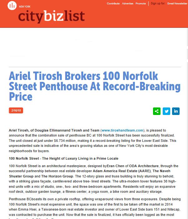 Ariel Tirosh Brokers 100 Norfolk Street Penthouse At Record-Breaking Price