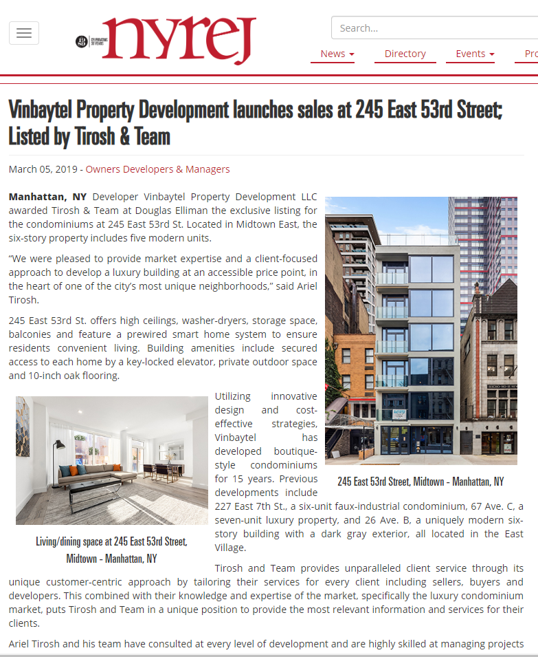 VINBAYTEL PROPERTY DEVELOPMENT LAUNCHES SALES AT 245 EAST 53RD STREET; LISTED BY TIROSH & TEAM