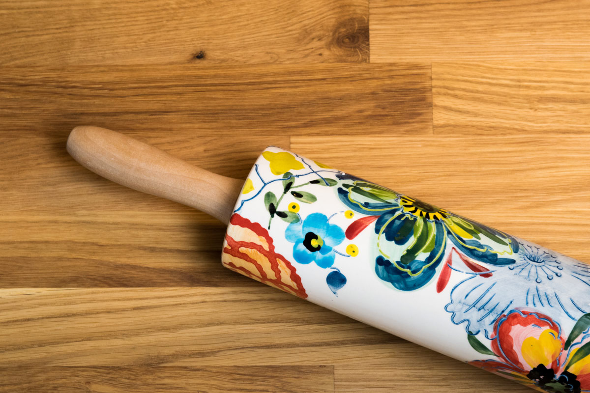 Decorated Rolling Pin on Wood Countertop