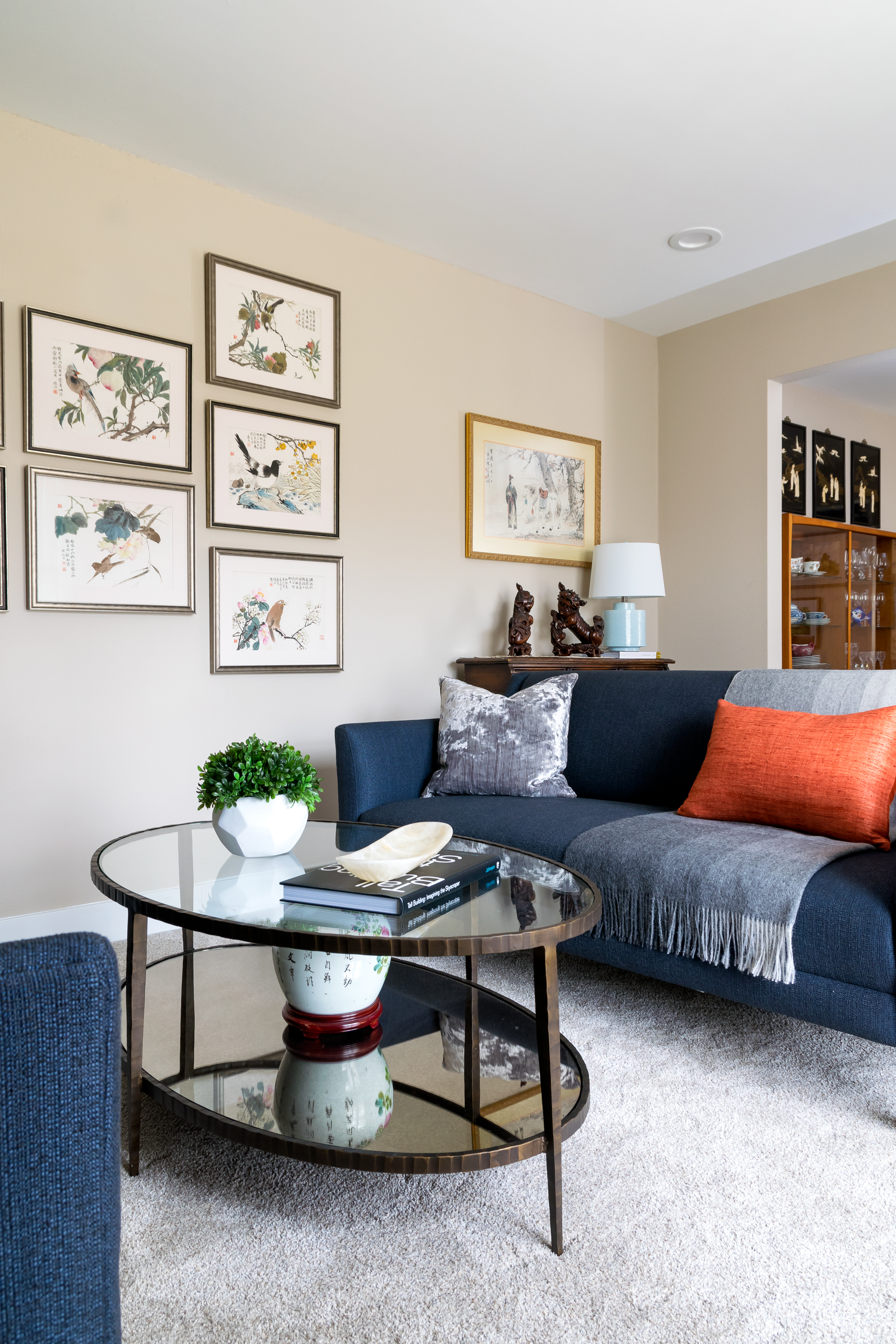 Navy Blue Couch with Accent Pillow