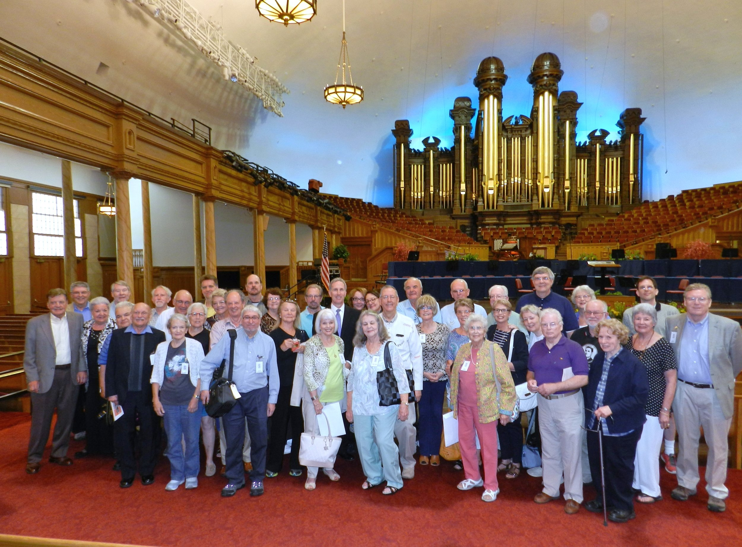 Members of JBS-USA in the Morman Tabernacle with organist Richard Elliott