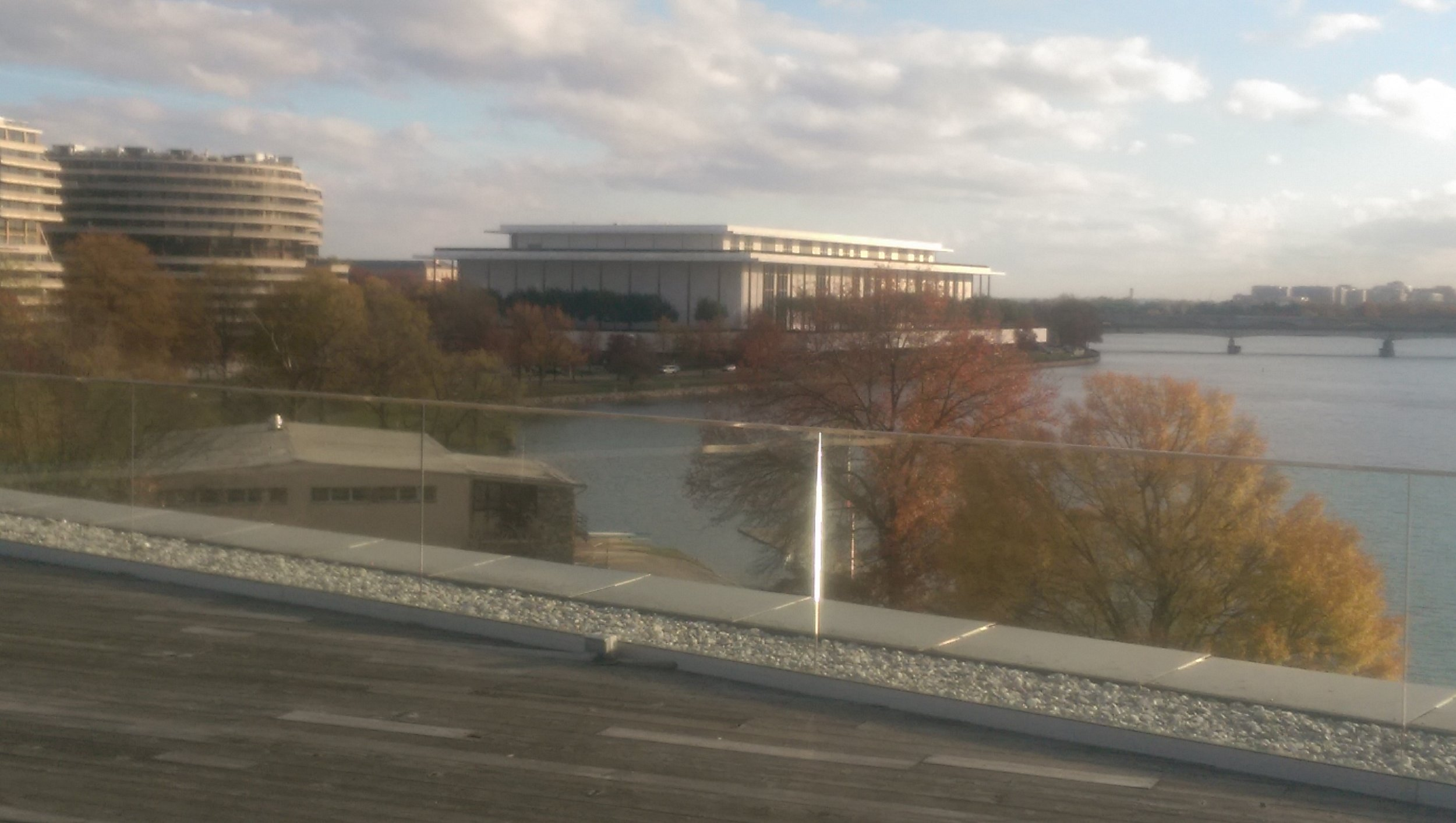 Seen from the House of Sweden roof deck, the Kennedy Center just across the Potomac