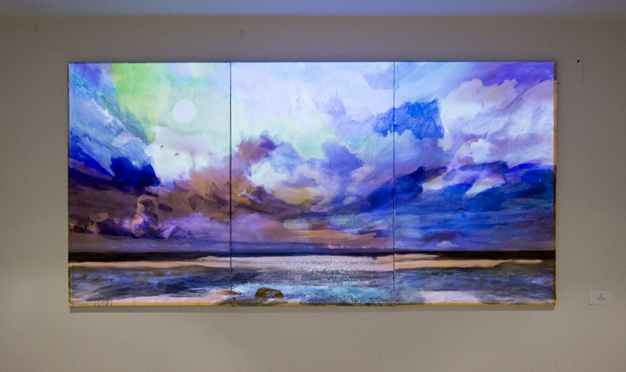 "Sky · Mixed Media on Canvas with Video · 72""x36"" · 2016"