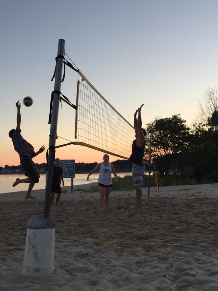 That's me on the left back in August; I almost look like someone who can play volleyball! Soon enough, we'll be playing on the beach again. Hopefully, my friends don't mind their likenesses being used for my benefit.