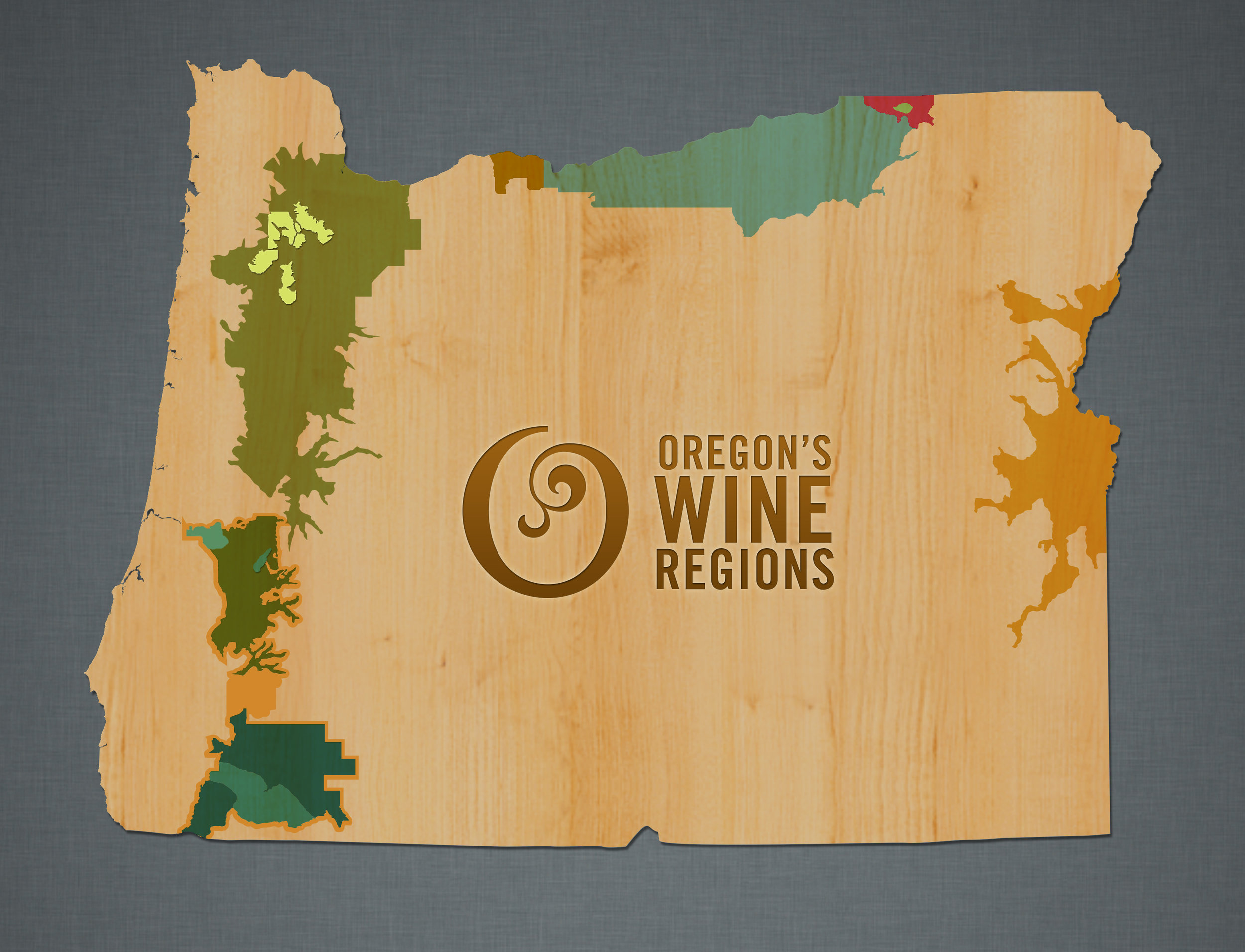 Oregon Wine Region map courtesy of  Oregon Wine . Most of the wine produced in Oregon comes from the Willamette Valley, which is in close proximity to Portland (in the yellow area).