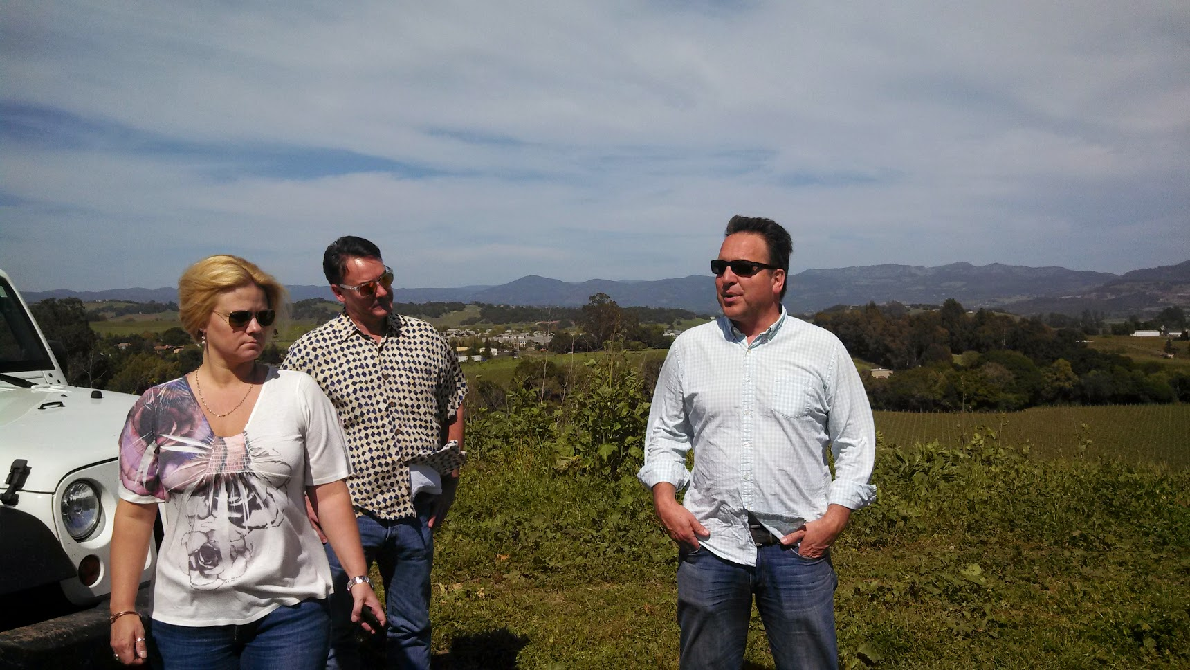 The vineyards at Cuvaison. From L-R: Jennifer Fernandez, Central U.S. Regional Manager; Steve Richards, National Sales Manager, Steven Rogstad, Winemaker