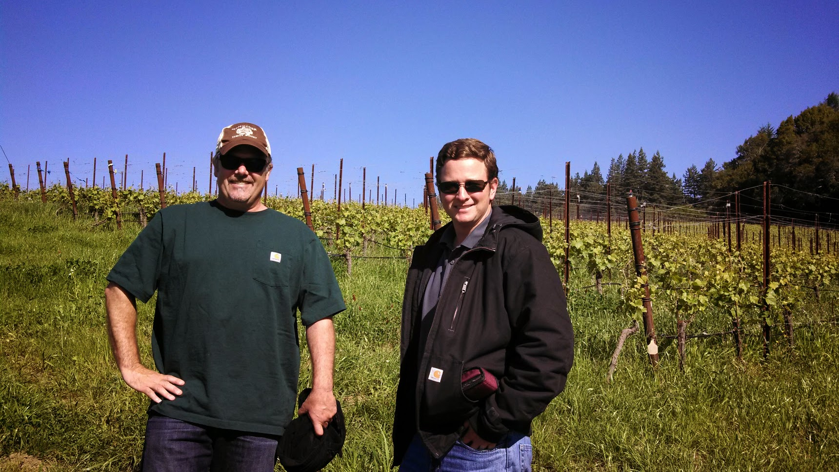 My amazing tour guides. Chris Benziger, National Sales Manager, and Jeff Landolt, Viticulture Operations Coordinator at the deCoelo Vineyard, Sonoma Coast.