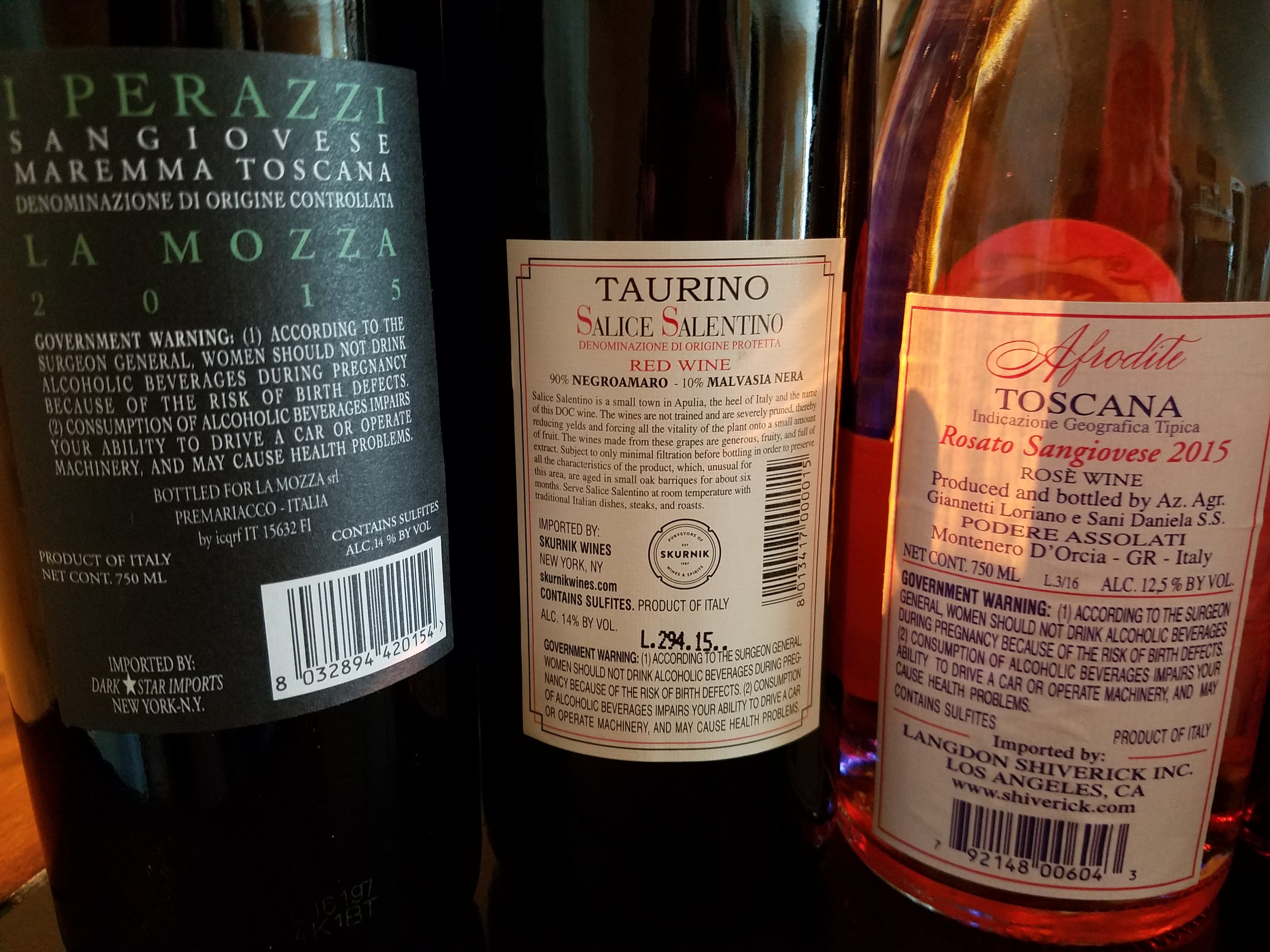 Three wines from Central Italy, all from different producers, subregions, and importers. Lots of good data to help you, including web sites for further research.