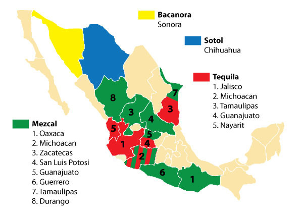 Production zones of Mexican spirits. Image credit:  Culinary Historians of New York