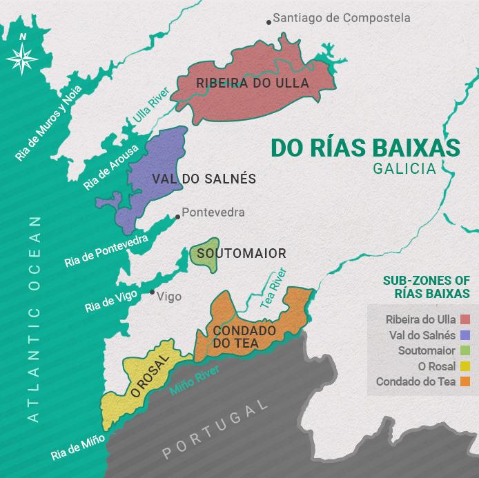 Your subzones of Rías Baixas. Image credit: Rías Baixas Wines.