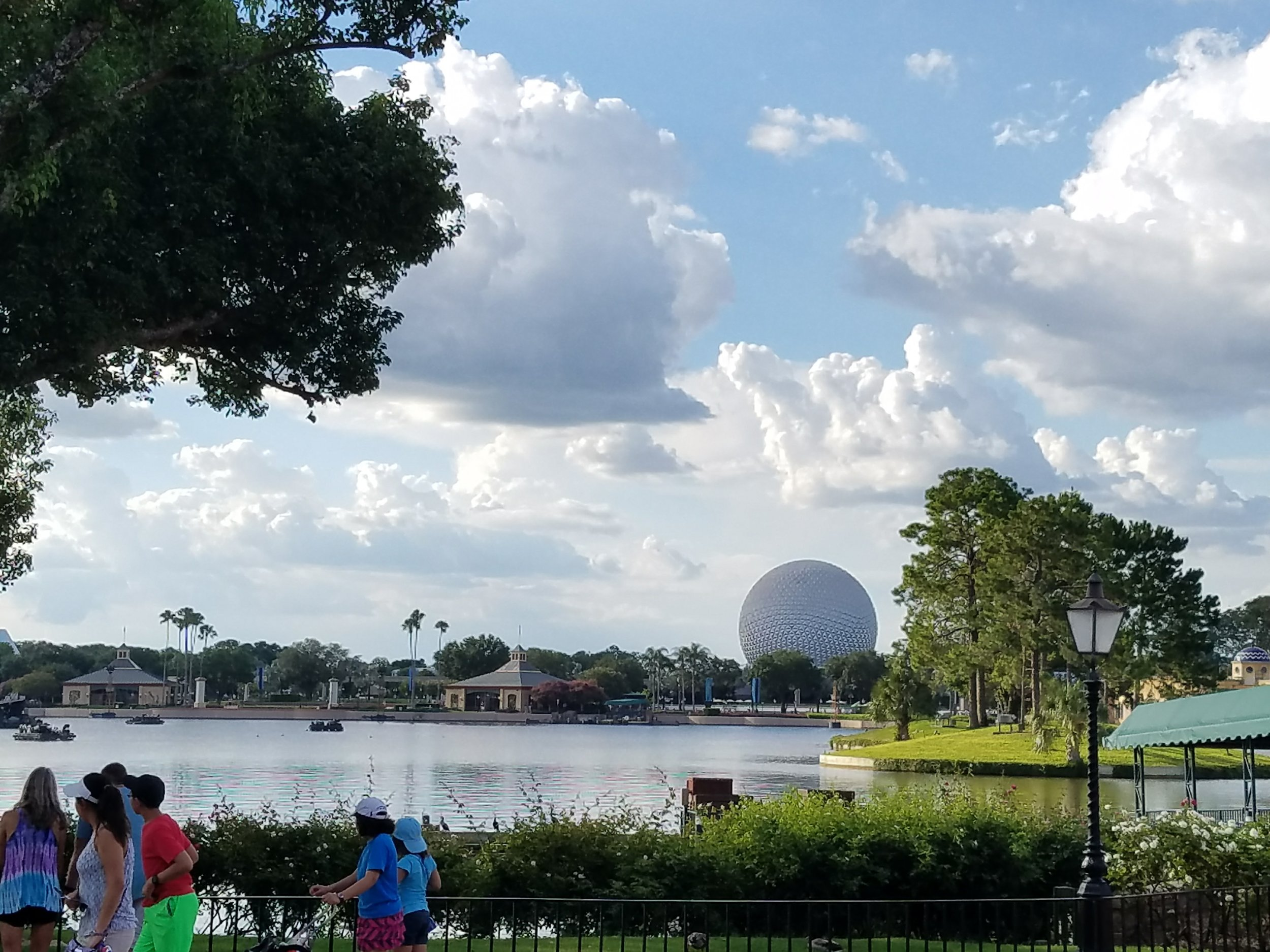 The view of Spaceship Earth from World Showcase at Epcot.