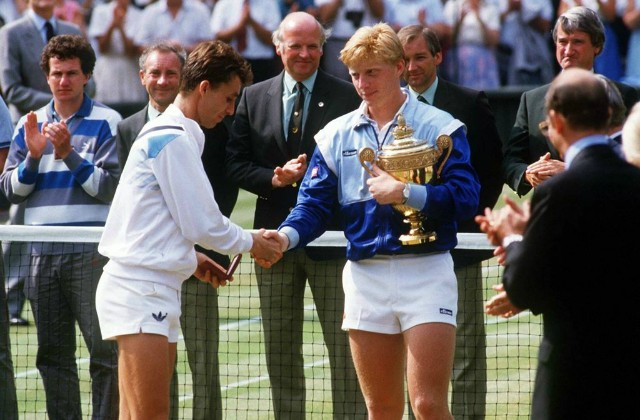 Ye olden days of short shorts. Ivan Lendl (left) and Boris Becker (right), 1986.