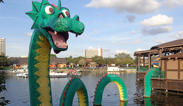Loch Ness Monster made of many choking hazards for little ones, Disney Springs.