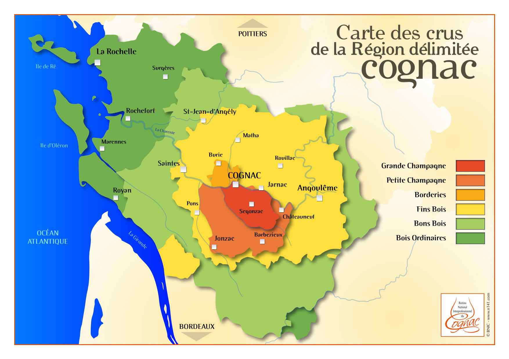 The regions of Cognac. Image credit:  Cognac Expert Blog