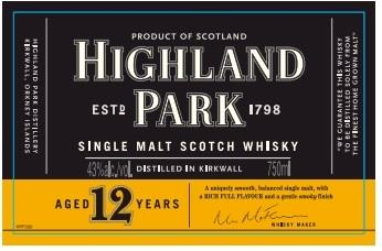Highland Park 12 Year old label
