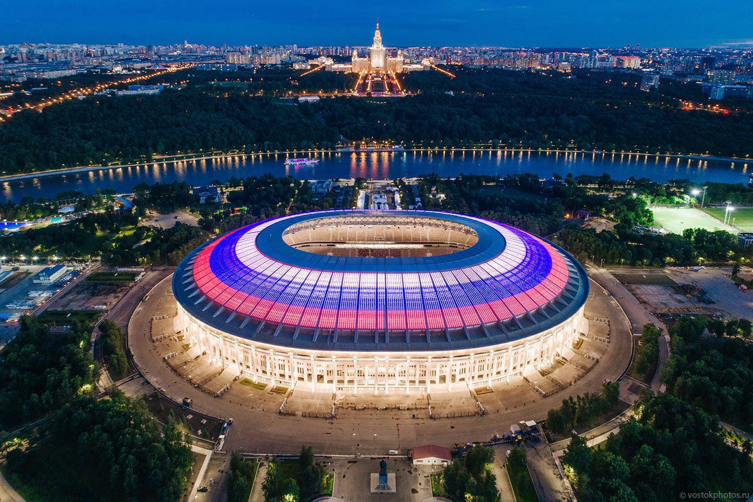 Luzhniki Stadium in Moscow. Let the beginning of the 2018 FIFA World Cup jump-start your exploration of global beverages. Image credit:  FootTheBall