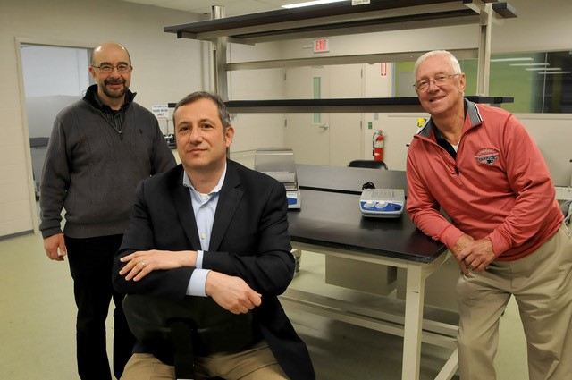 Mansfield Bio-Incubator's team, May 2017.  Russ Yukhananov (left), Alexander Margulis (center), and Richard Sousa right).