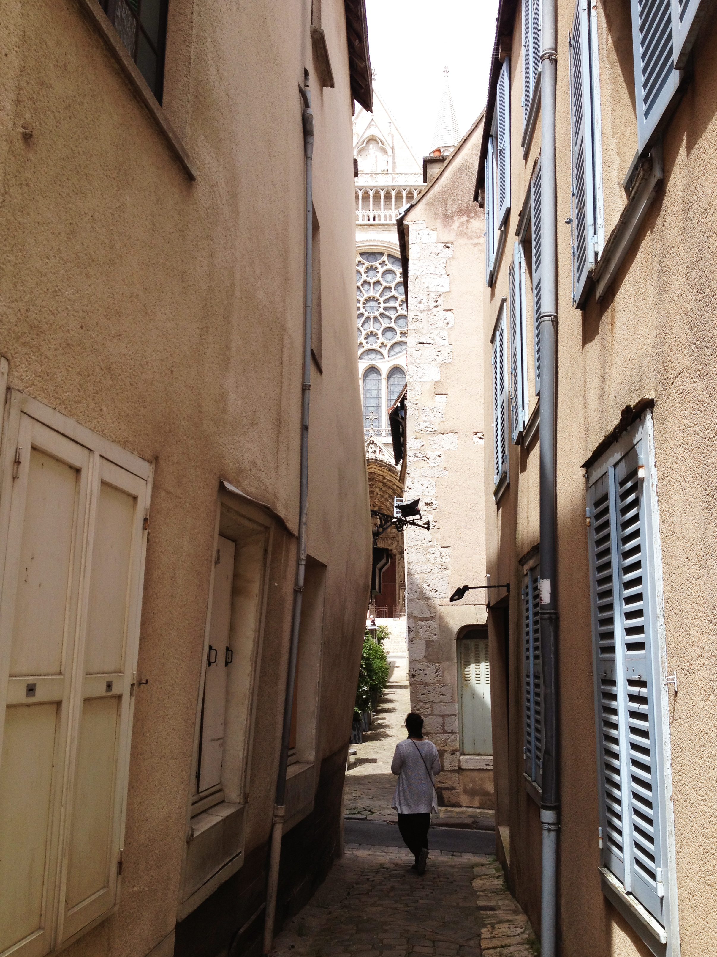 One of the little alleys of Chartres with a peek of the cathedral.