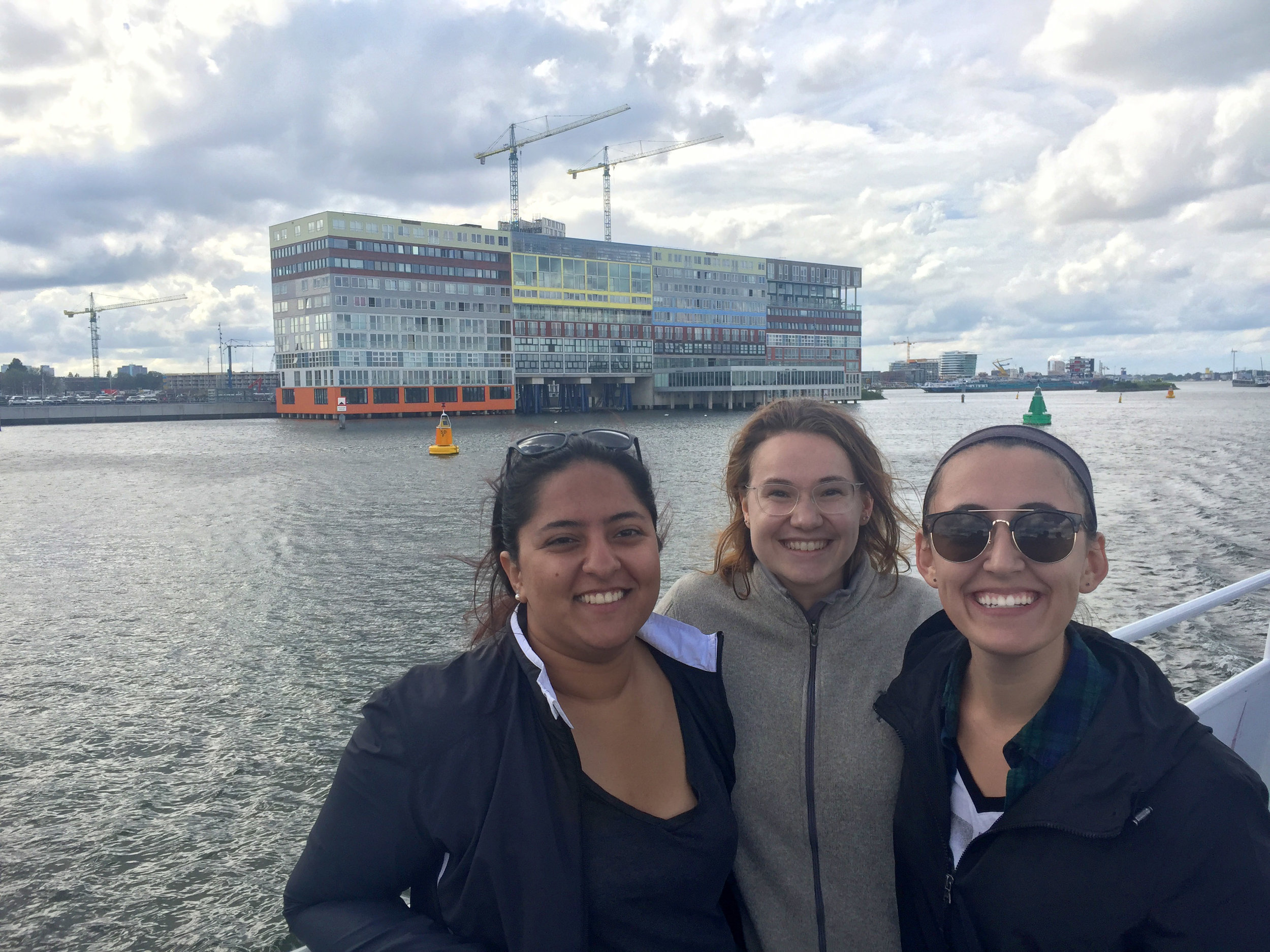 Our day then ended with a boat tour around the IJ. This is me and two of my friends in from of MVRDV's Silodam.