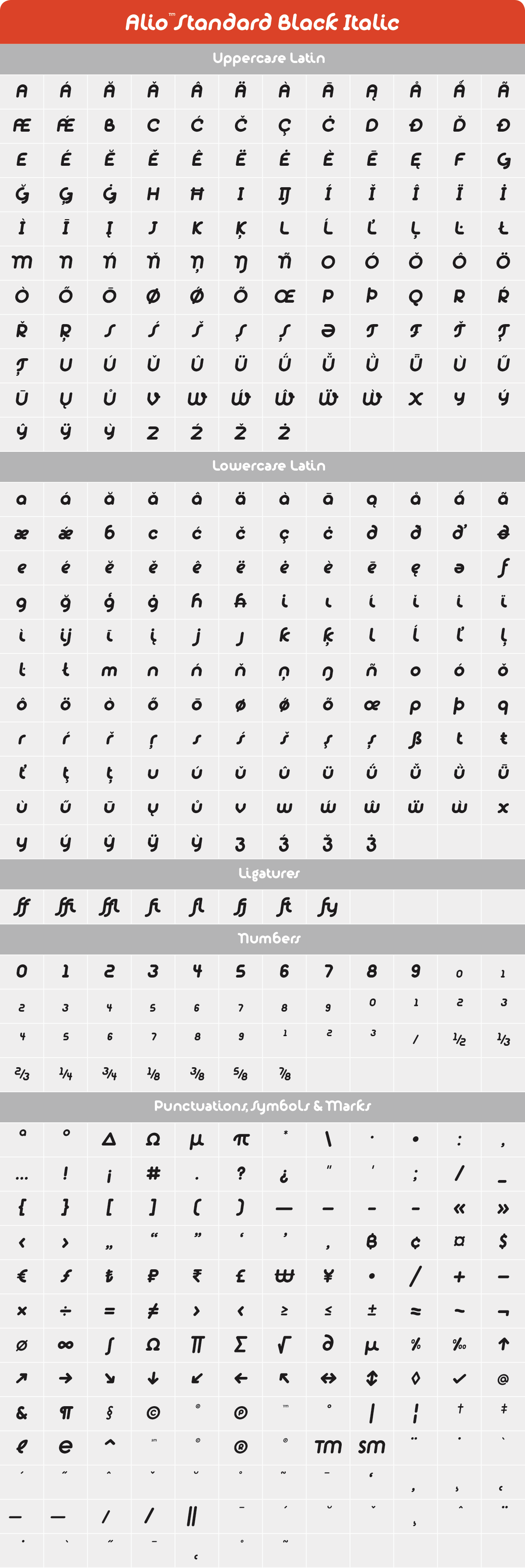 Alio Std Black Italic Glyph Set