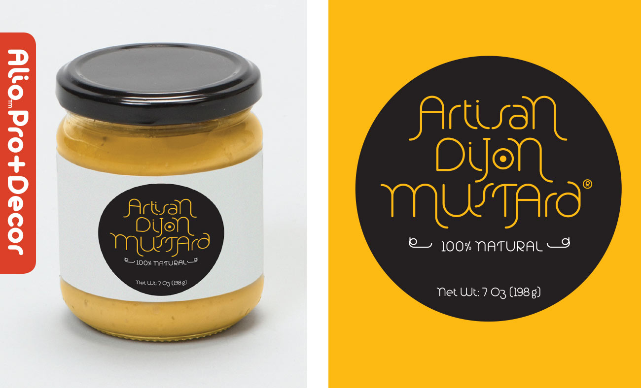 Here's an Alio Pro + Decor design on a mustard jar.