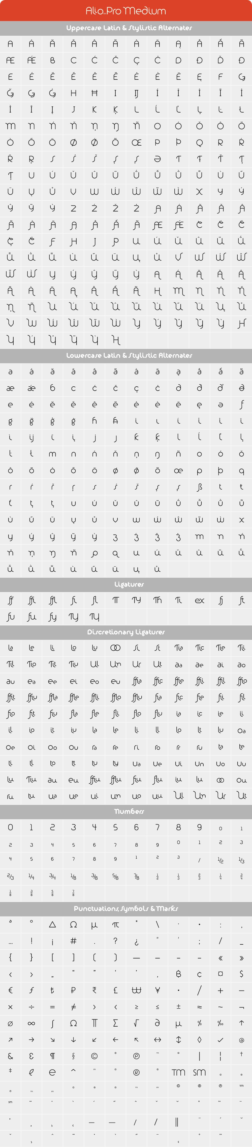 Alio Pro Medium Glyph Set