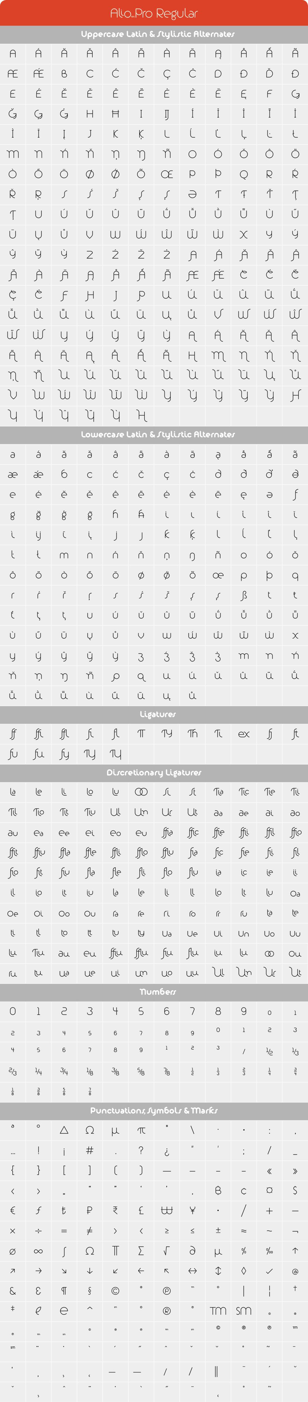 Alio Pro Regular Glyph Set