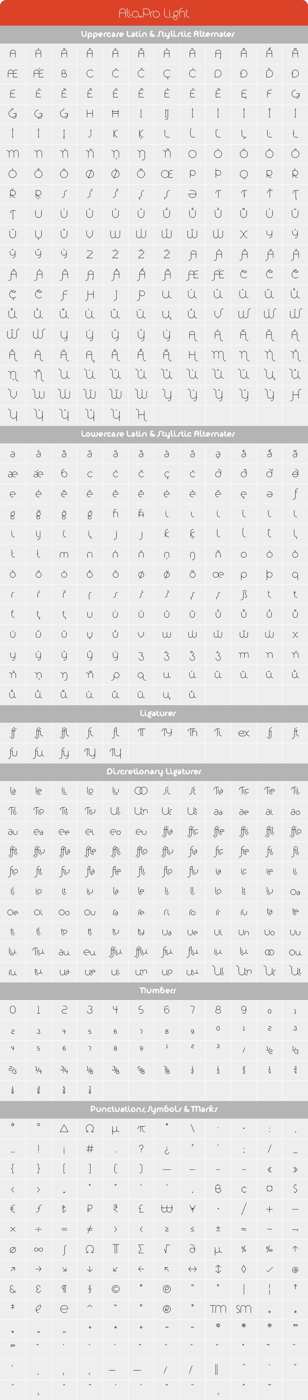 Alio Pro Light Glyph Set