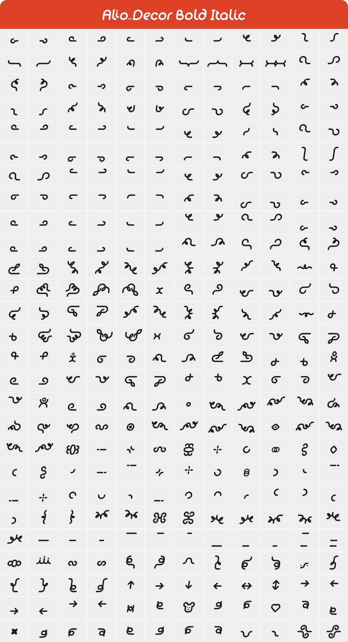 Alio Decor Bold Italic Glyph Set