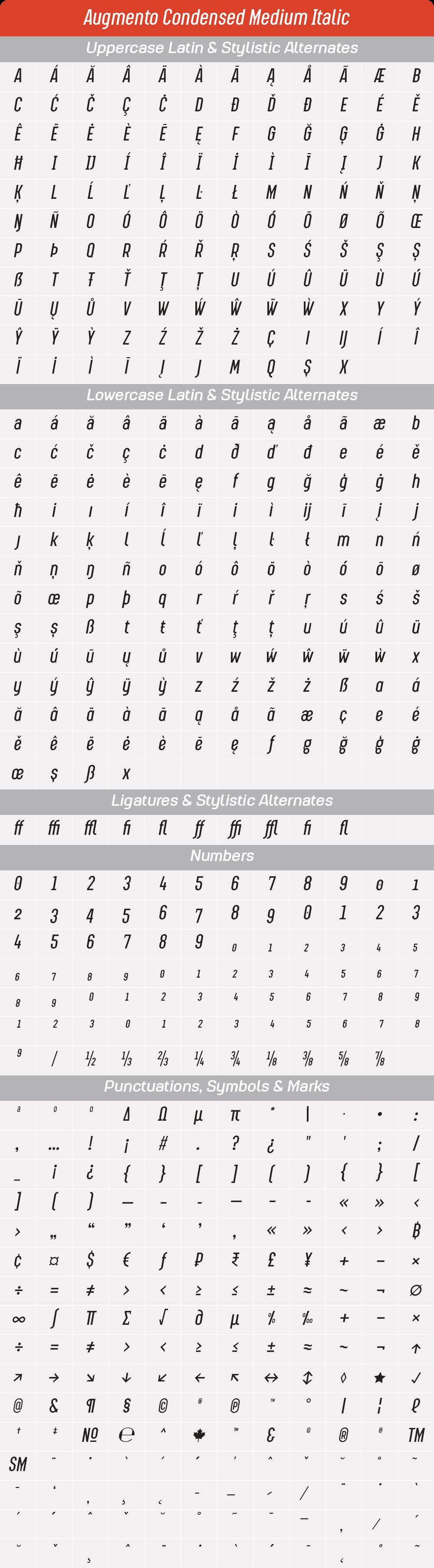 Condensed Medium ItalicAugmento-GlyphTable.png
