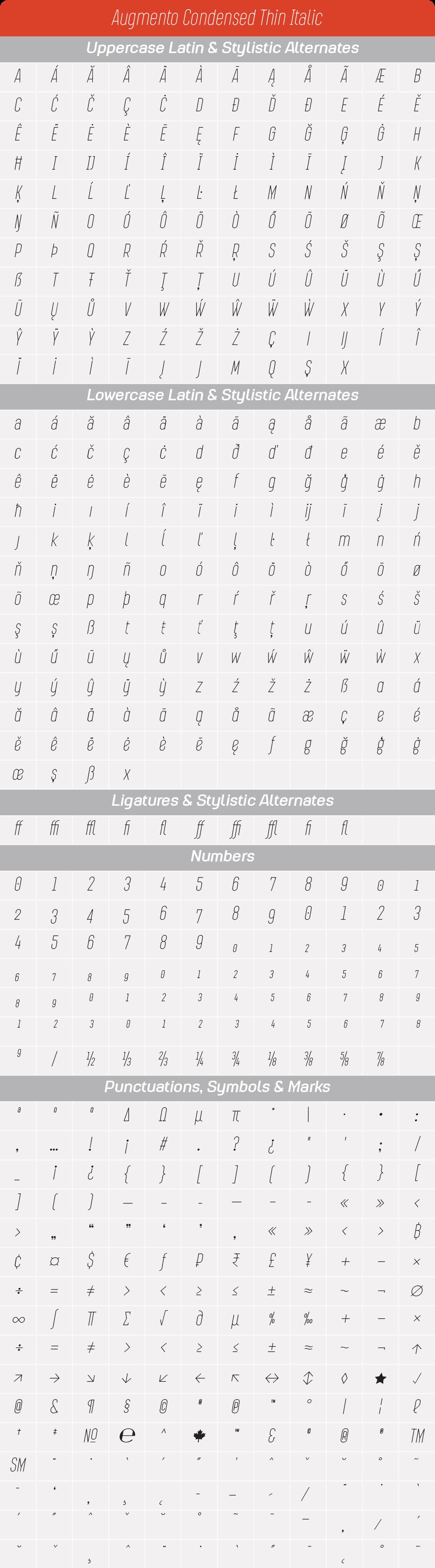 Condensed Thin ItalicAugmento-GlyphTable.png