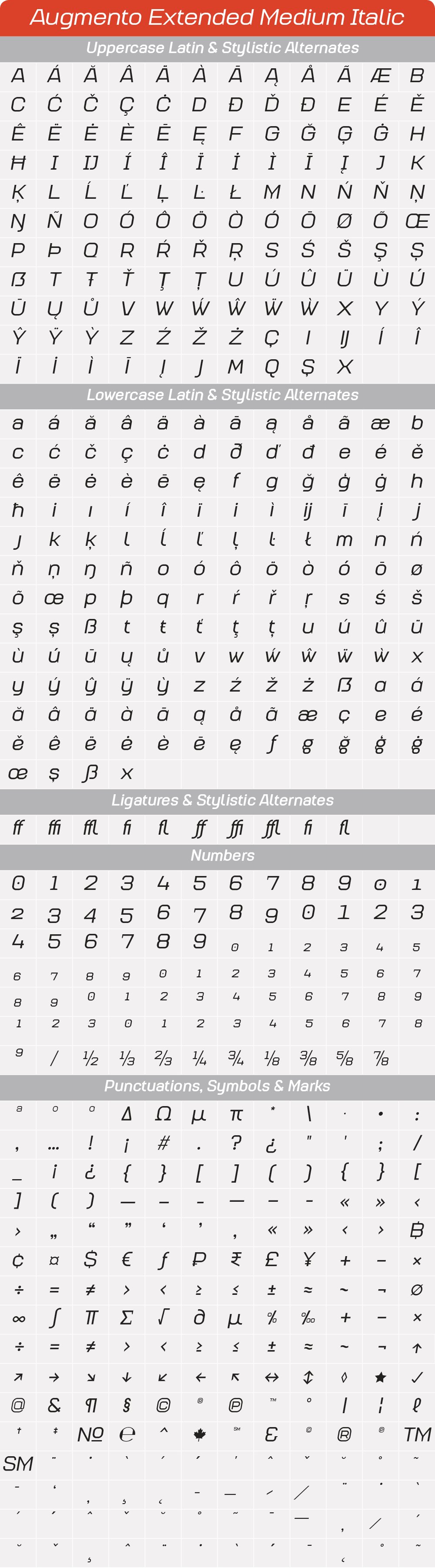 Extended Medium ItalicAugmento-GlyphTable.png