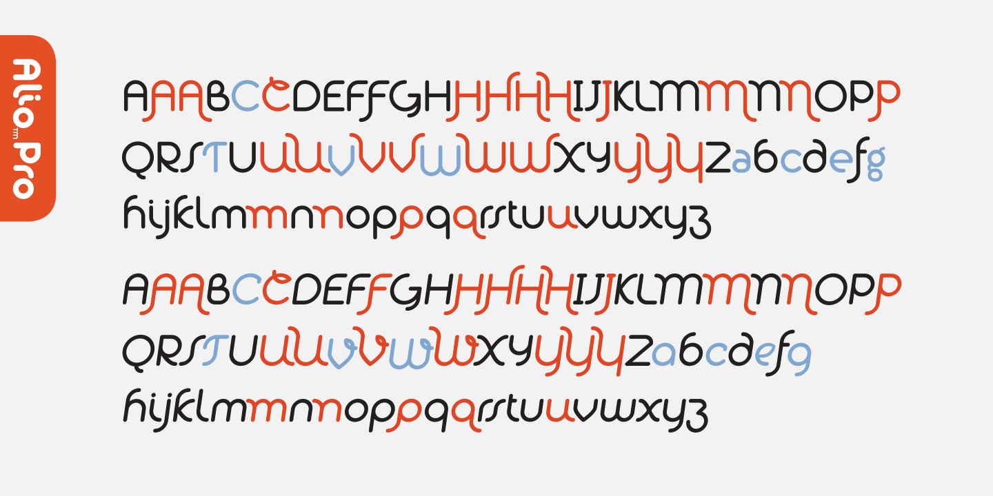 A partial glyph set of Alio™ Pro, an extensive type family.