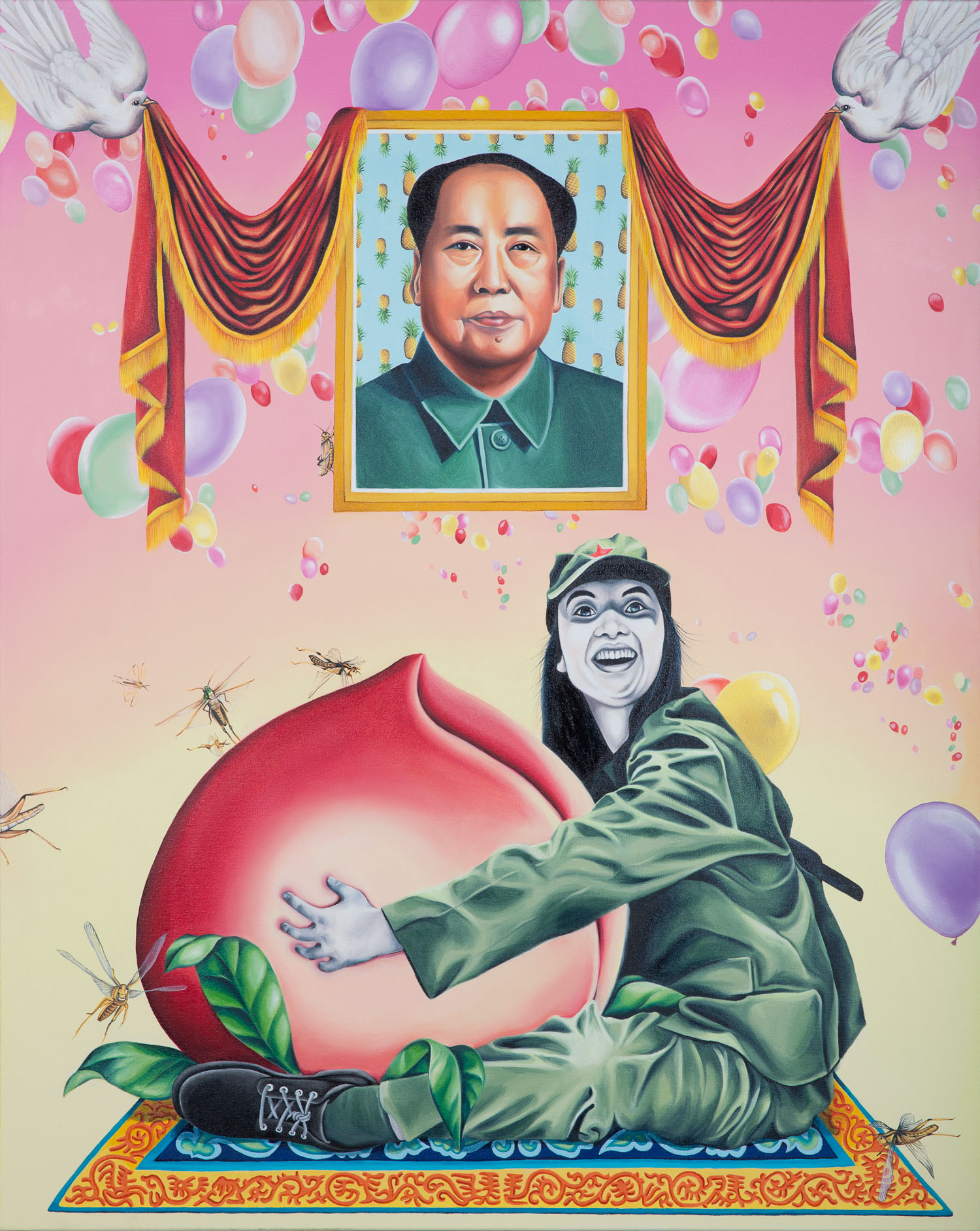 """Humbly Offering Chairman Mao 10,000 Years of Boundless Longevity 2015 Oil on canvas 60"" x 48"""