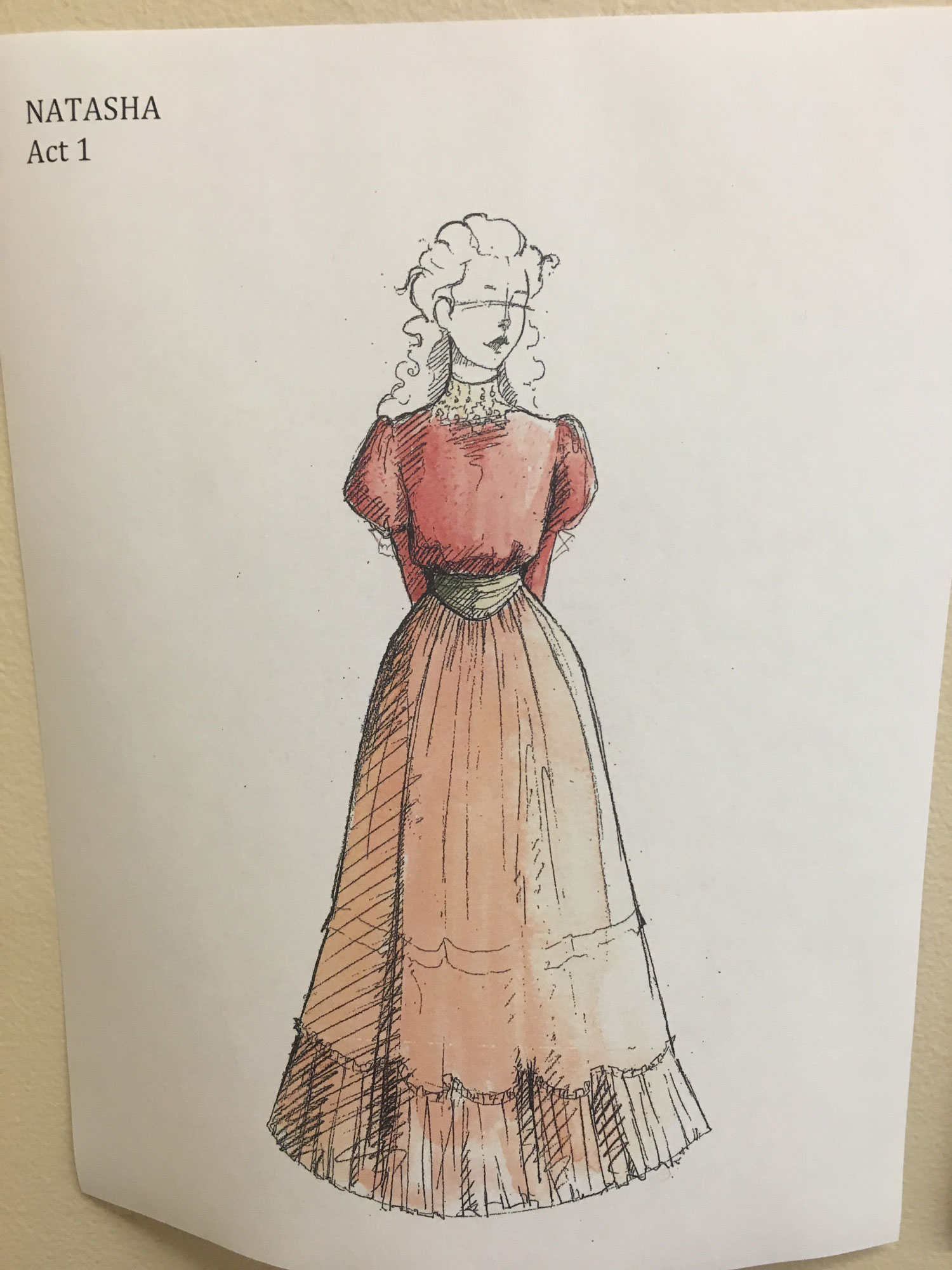 A sketch of a dress worn by Anna in Act I