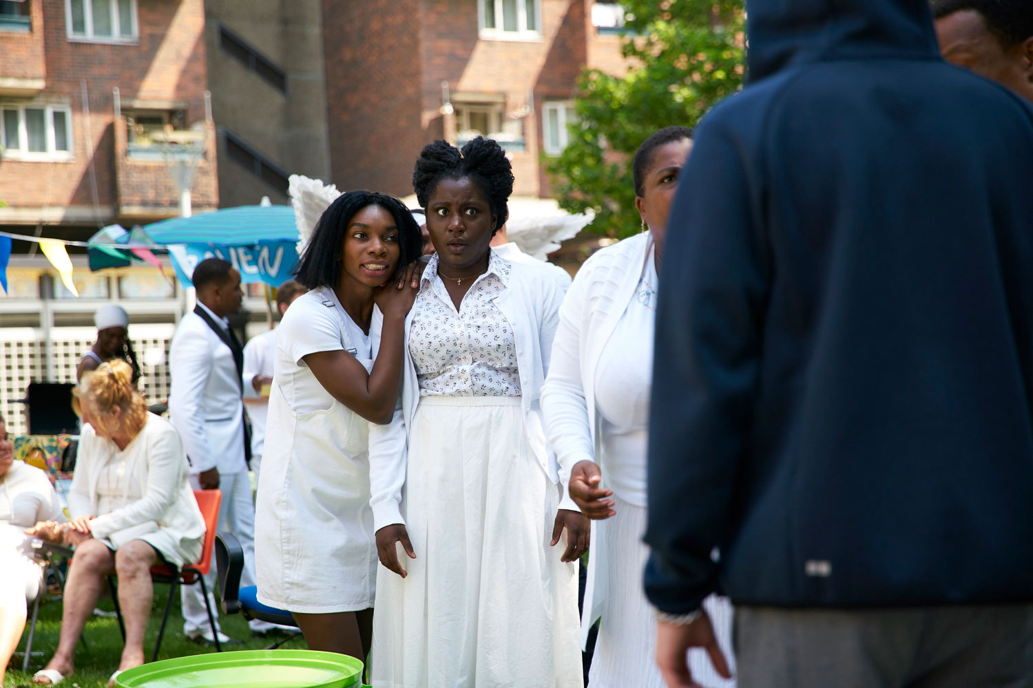 Susan Wokoma, with Michaela Coel (left) in a production still from  Chewing Gum . Courtesy of E4.