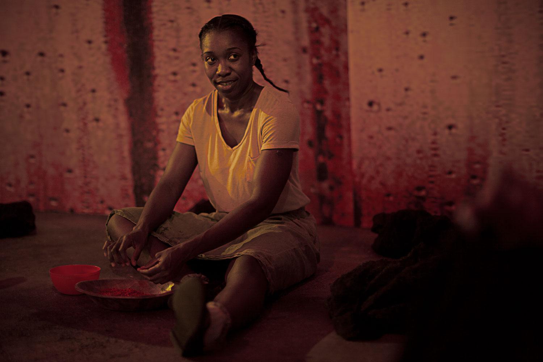 Yvette Boakye as Ruhab in  Girls .Production image courtesy of Talawa Theatre Company.