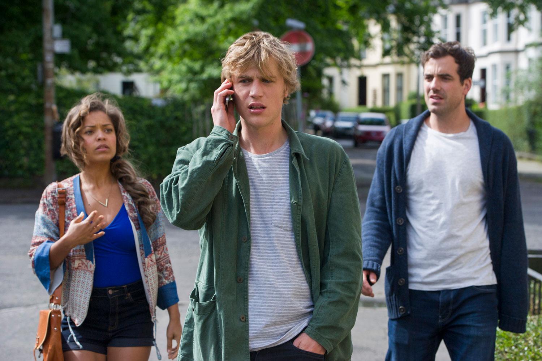 Antonia Thomas, Johnny Flynn, Daniel Ings in  Lovesick. P hoto by Neil Davidson for Netflix.