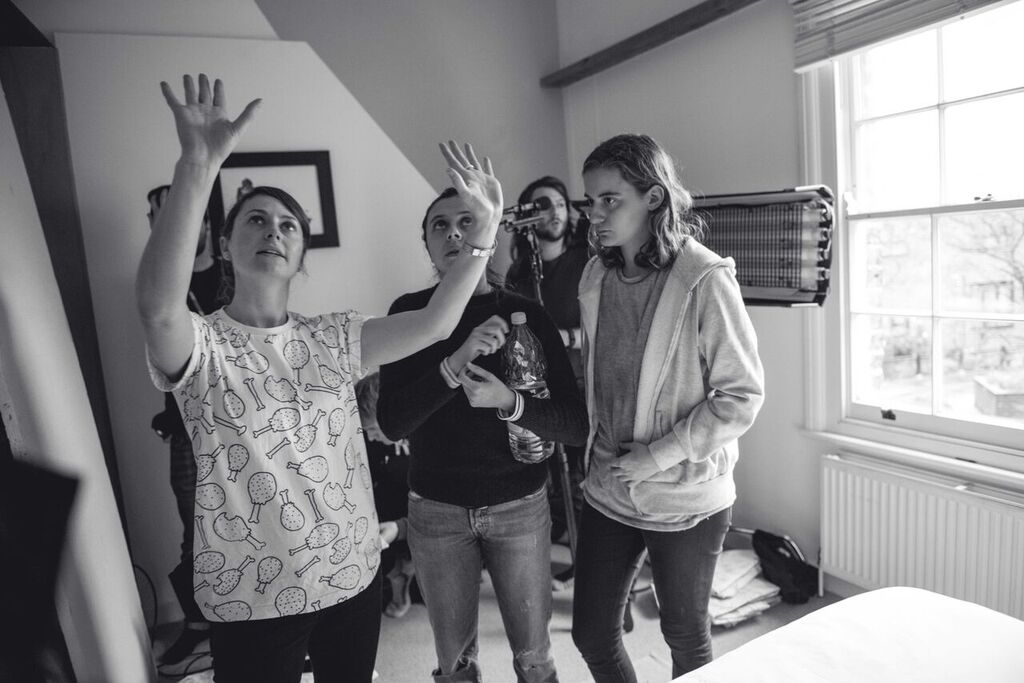 Bel Powley and her team behind the scenes. Photo by Tegan Williams.