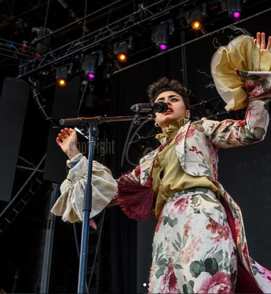 Montaigne performing in Madeleine Sinco's design - in a former life this suit was some old floral curtains. Can you tell?