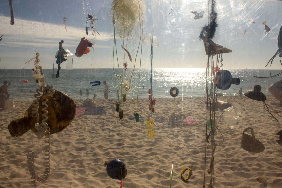 'Aquarium of the Pacific gyre' by Marina DeBris, Cottesloe Beach, Western Australia 2014