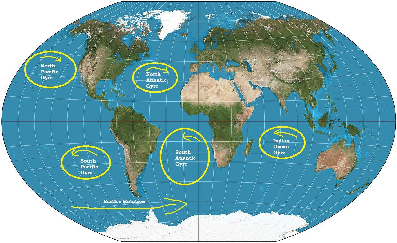 Gyres attract marine debris
